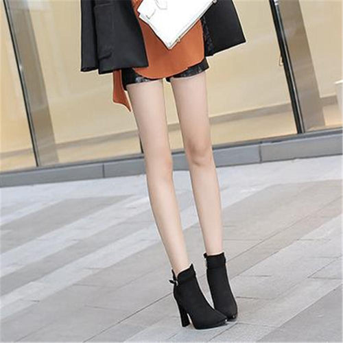 Sexy Plain Suede Upper Belt Buckle High Thick Heel Mules Boots