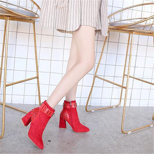 Fashion Plain Rivet Buckle Belt Mules High Thick Heel Boots