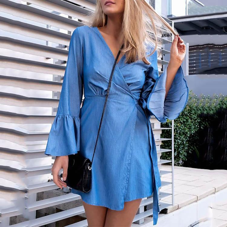 V Collar Flare Sleeve Pure Color Denim Mini Skater Dress