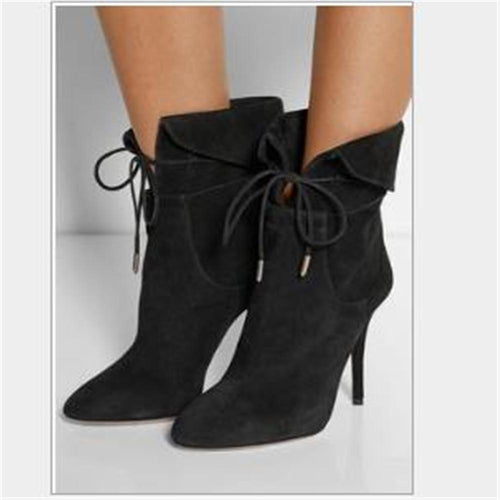 Fashion Plain Suede Upper Lace-Up Tube High Heel Mules Shoots
