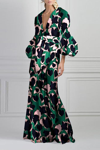 Green Vintage Printed V-Neck Fashion Maxi Dress