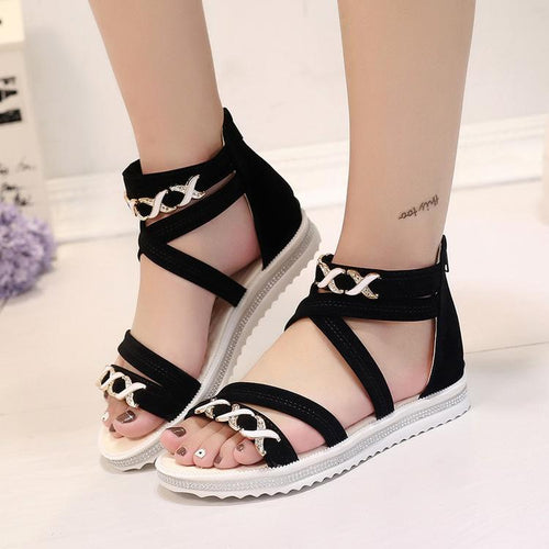 Anti-Slip Zip Open Toe Sandals