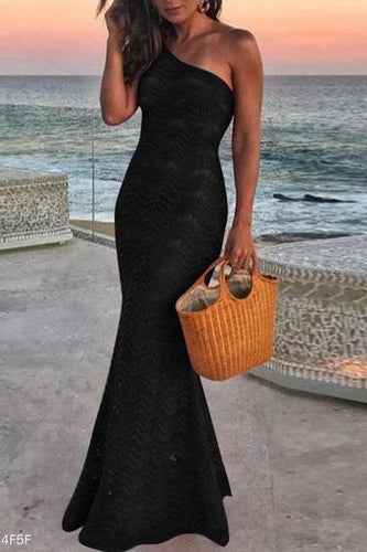 One-Shoulder Lace Halter Fishtail Sexy Evening Dress
