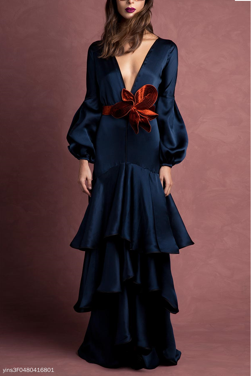 Elegant Noble Slim Plain Deep V Collar Puff Long Sleeve Ruffled Hem Evening Dress