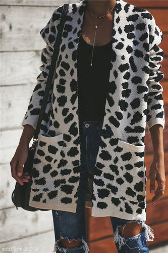Loose Leopard Knit Women's Cardigan