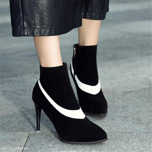 Fashion Thermal Suede Upper Color Block Mules High Heel Boots