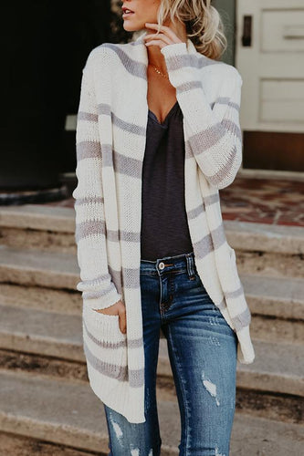 Fashion Stripe Long Sleeve Cardigans