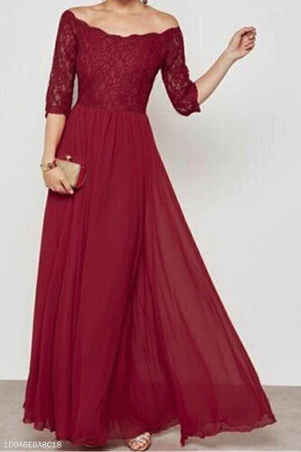 Sexy Off Shoulder Lace Chiffon Split Joint Maxi Dress