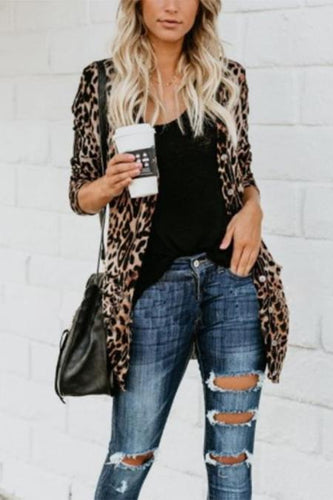 Long And Medium Leopard Loose Cardigan