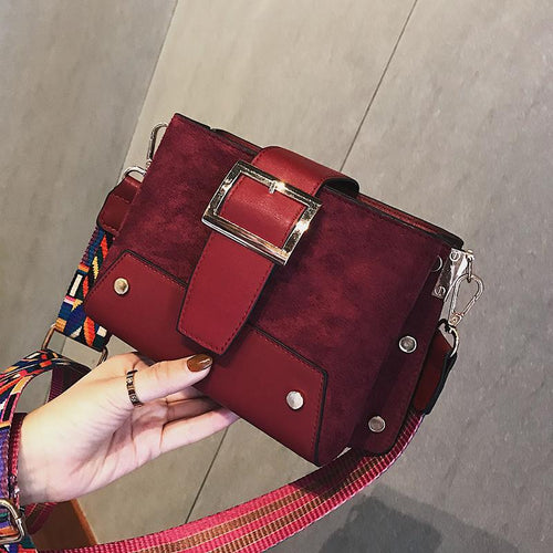 Casual Fashion Nifty Rivet Buckle Rectangle Color Belt One Shoulder Bag