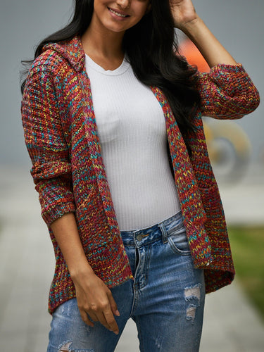 Colorful Printed Knit Long-Sleeve Hooded Cardigan