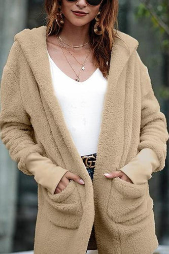 Stylish Hooded Pocket Midi Coat