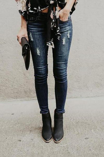 Fashion Slim Fit Ripped Pencil Jeans Pants