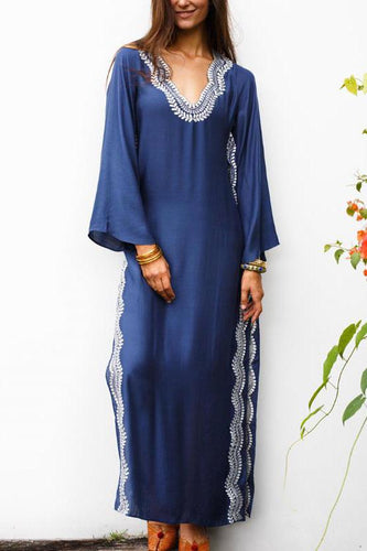 Vacation Casual Loose Embroidery V Collar Long Sleeve Maxi Dress