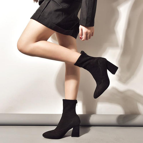 Fashion Pointed Head Coarse Heel Plain Boots