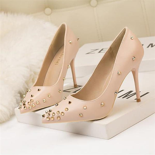 Elegant Noble Leather Rivet Mules High Heel Shoes