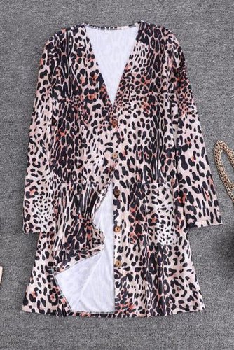 Chic Sexy Casual Loose Leopard Print Long Sleeve Button Cardigan