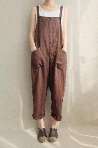 Fashion Cotton/Linen Loose Casual Jumpsuits