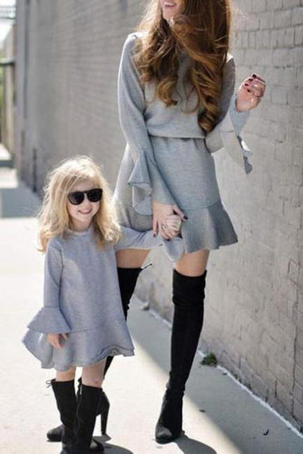 Nifty Casual Slim Plain Round Neck Long Sleeve Shift Dress