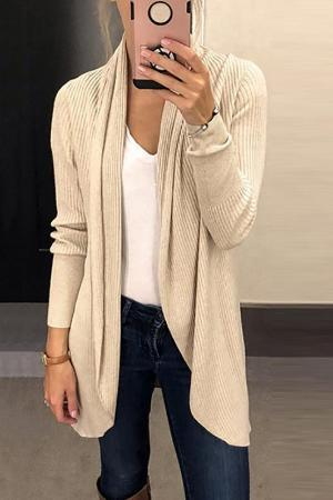 Solid Lapel Long Sleeve Knit Cardigan