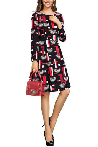 Elegant Fashion Lady Slim Print Long Sleeve Shift Dress