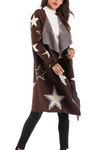 Elegant Casual Chic Slim Star Long Sleeve Long Cardigan