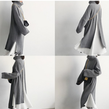 Load image into Gallery viewer, Fashion High Collar Plain Slit Sweater Maxi Dress