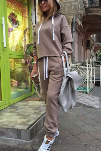 Casual Fashion Daily Loose Plain Long Sleeve Hoodie Harem Pants Sport Suit