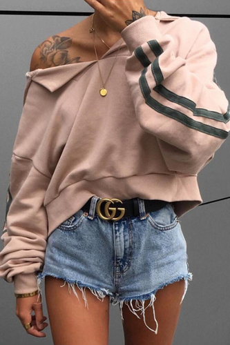 Sport Chic Casual Loose Strip V Collar Long Sleeve Hoodie Top
