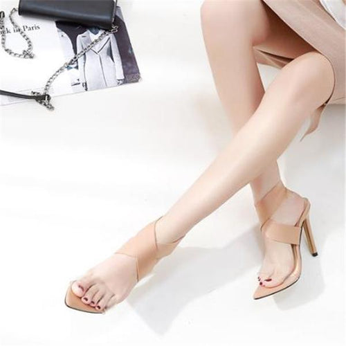 Elegant Fashion Mules Peep-Toe High Heel Sandals