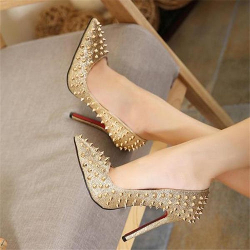 Elegant Fashion Casual Mules Rivet High Heel Shoes