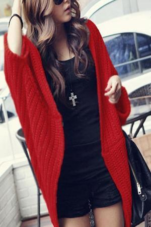 Women Knitting Cardigan Solid Color Sweater Shirts