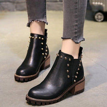 Load image into Gallery viewer, Fashion Rivet Element Chunky Heel Boots