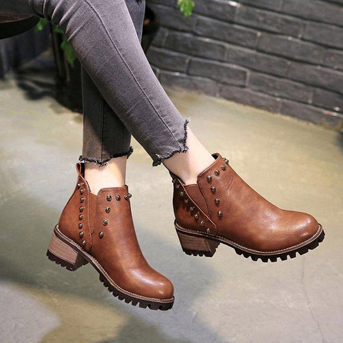 Fashion Rivet Element Chunky Heel Boots