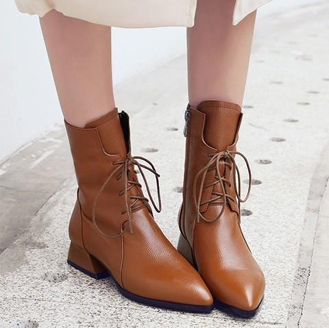 Fashion Leather Plain Blinding Pointed Head Boots