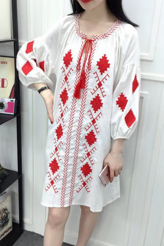 Linen Casual Fashion Loose Embroidery Puff Long Sleeve Shift Dress