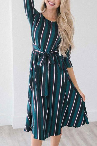 Lady Casual Fashion Slim Strip Long Sleeve Shift Dress