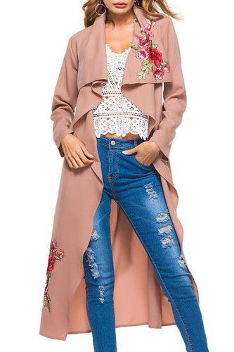 Stylish Vacation Casual Loose Embroidery Long Sleeve Coat Cardigan