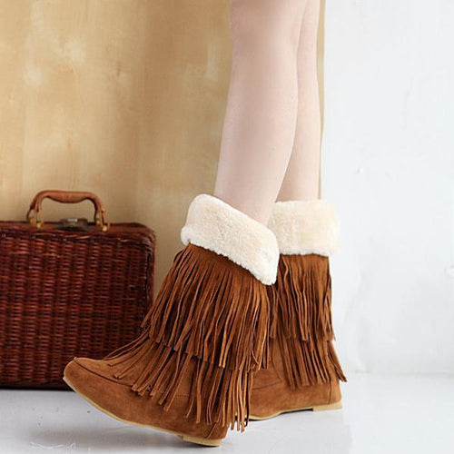 Fashion Tassel Flat Snow Boots