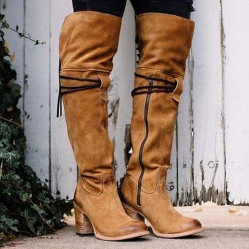 Fashion Suede Chunky High Leg Boots