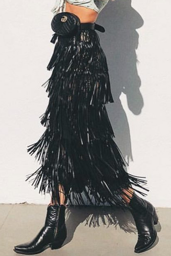 Fashion Elastic Waist Plain Fringe Skirt
