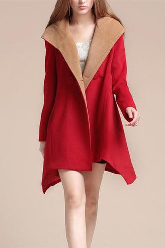 Nifty Casual Fashion Thermal Color Block Wide Lapel Long Sleeve Coat Cardigan