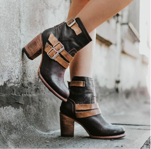 Fashion Pointed Head High Heel Buckle Short Boots