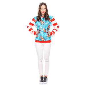Christmas Round Neck Loose Printed Long Sleeve Hoodies