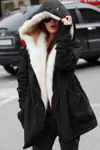 Fashion Winter Floss Padded Plain Long Coat