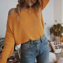 Load image into Gallery viewer, Slash Neck Long Sleeve Plain Knitting Loose Casual Sweaters