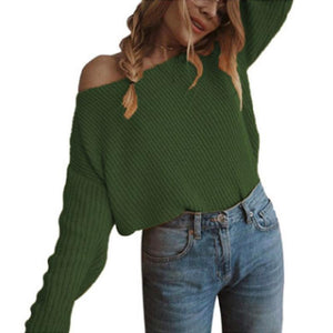 Slash Neck Long Sleeve Plain Knitting Loose Casual Sweaters