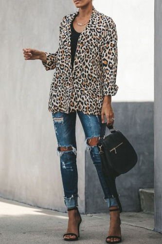 Casual Leopard Printed Button Suit Coat
