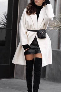 Winter Warm Solid Color Fashion Long Outerwear