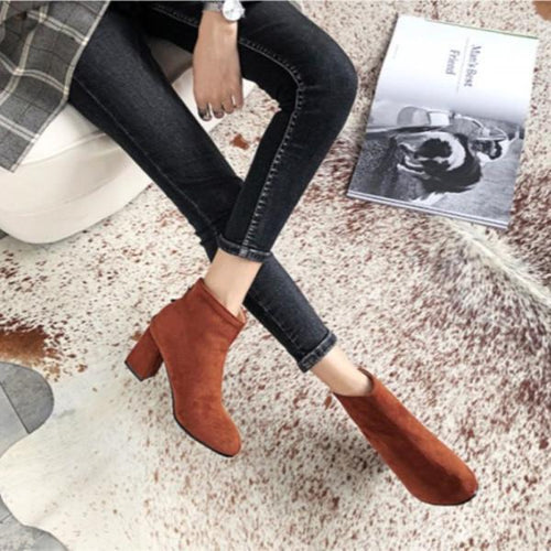 Fashion High-Heel Zipper Frosted Ankle Boots
